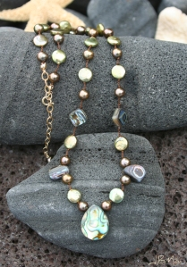 Green Pearl and Paua Shell Cord Necklace