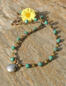 Island Girl Turquoise and Green Crocheted Necklace