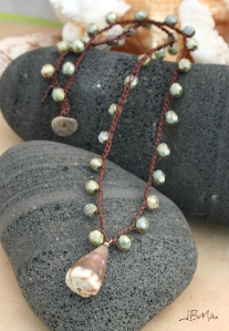 Olive Green and Brown Boho Beaded Crochet Necklace