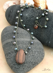 Olive Green Pearl and Tiger Ebony Wood Crocheted Necklace