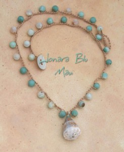 Aqua Blue Beach Cone Shell Crocheted Necklace