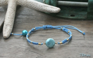 Beachy Summer Coin Pearl Macrame Friendship Bracelet - Aqua and Blue Beach Boho