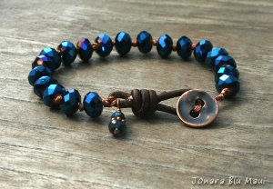 Sapphire Blue Crystal Knotted Bracelet with Leather Clasp