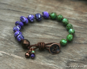 Green and Purple Knotted Bracelet with Leather Clasp
