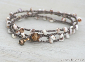 Cocoa Brown Crocheted Tiger Puka Shell Wrap Bracelet or Anklet - Beach Hippie Chic